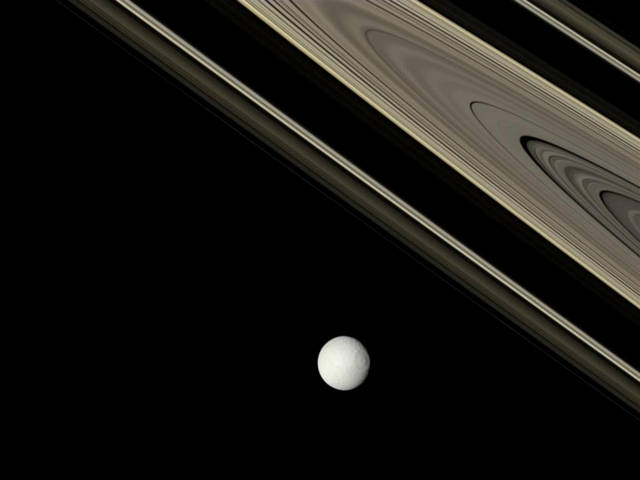 Saturn and one of its Moon