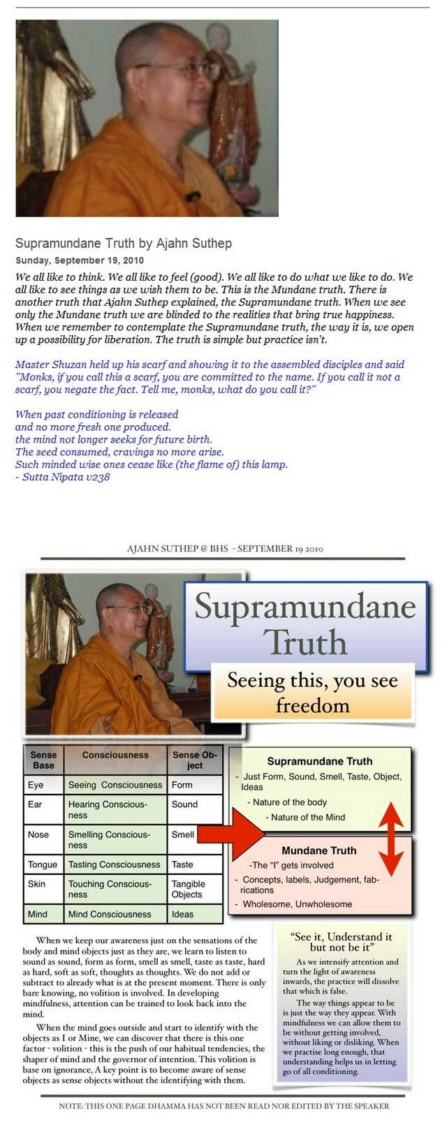 One Page Dhamma