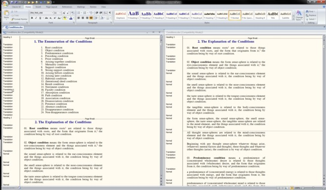Split MS Word Screen Vertically