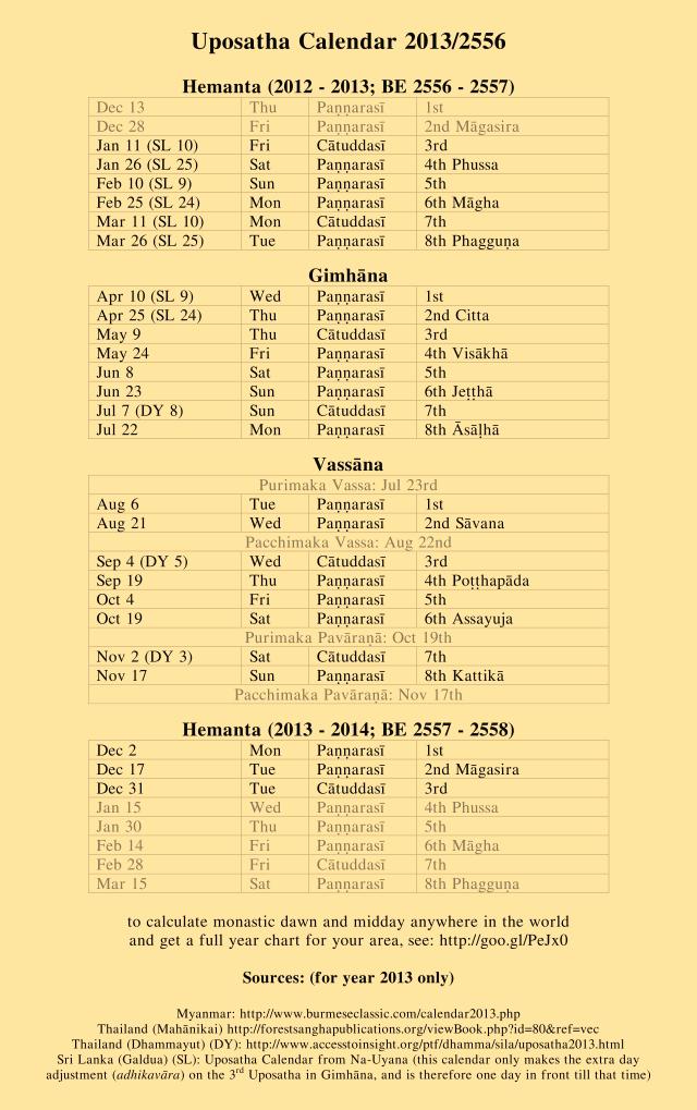 Uposatha Calendar
