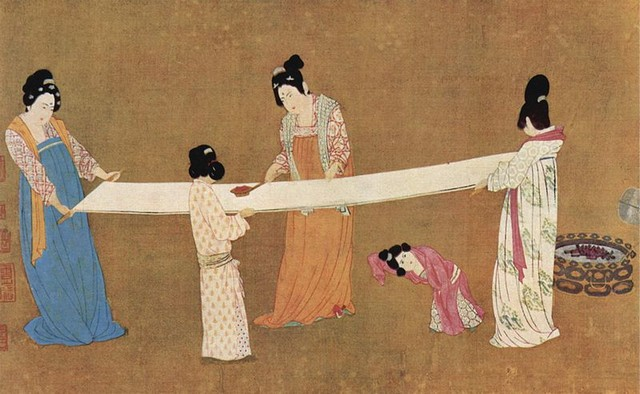 Women making Silk, 12th century